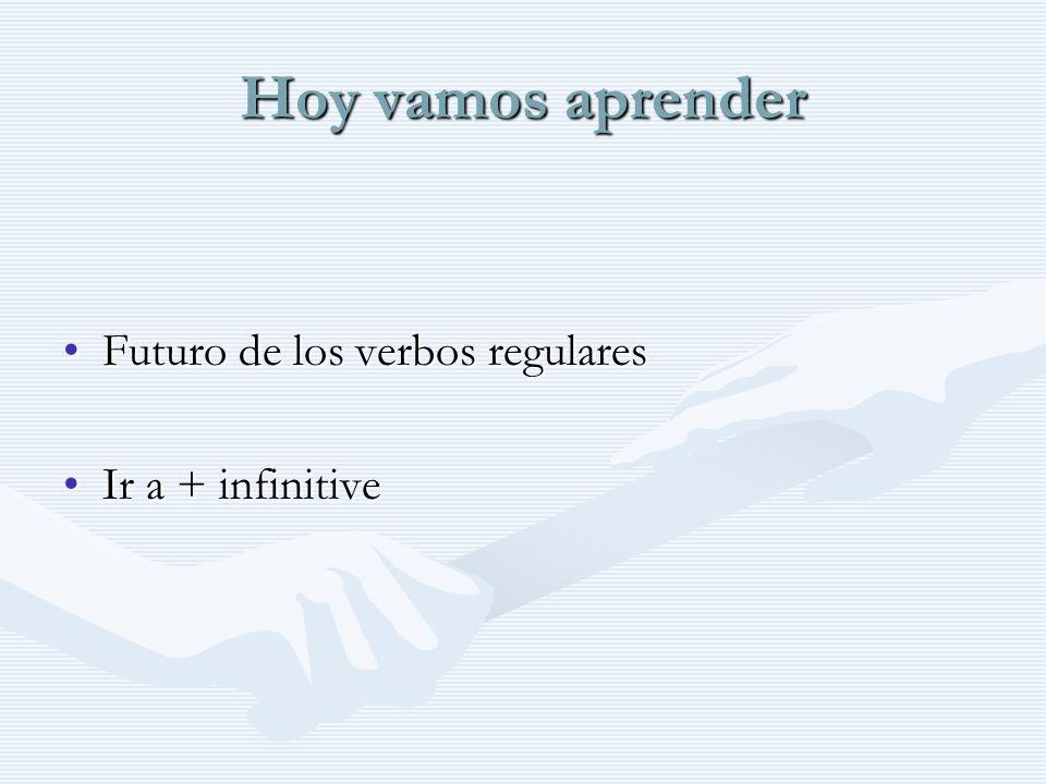 Hoy vamos aprender Futuro de los verbos regularesFuturo de los verbos regulares Ir a + infinitiveIr a + infinitive