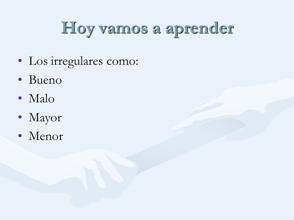 Hoy vamos a aprender Los irregulares como:Los irregulares como: BuenoBueno MaloMalo MayorMayor MenorMenor