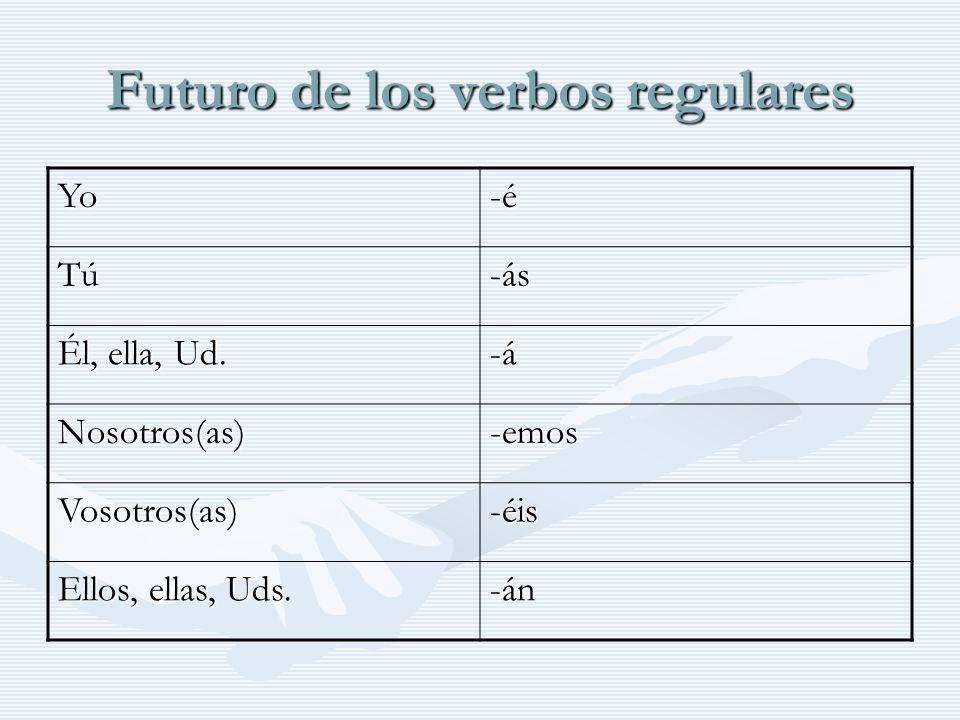 Futuro de los verbos regulares Yo-é Tú-ás Él, ella, Ud.