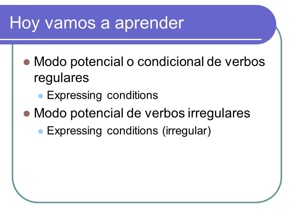 Hoy vamos a aprender Modo potencial o condicional de verbos regulares Expressing conditions Modo potencial de verbos irregulares Expressing conditions