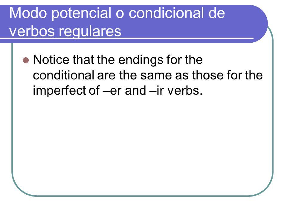 Modo potencial de verbos irregulares The same verbs that are irregular in the future tense are irregular in the conditional.
