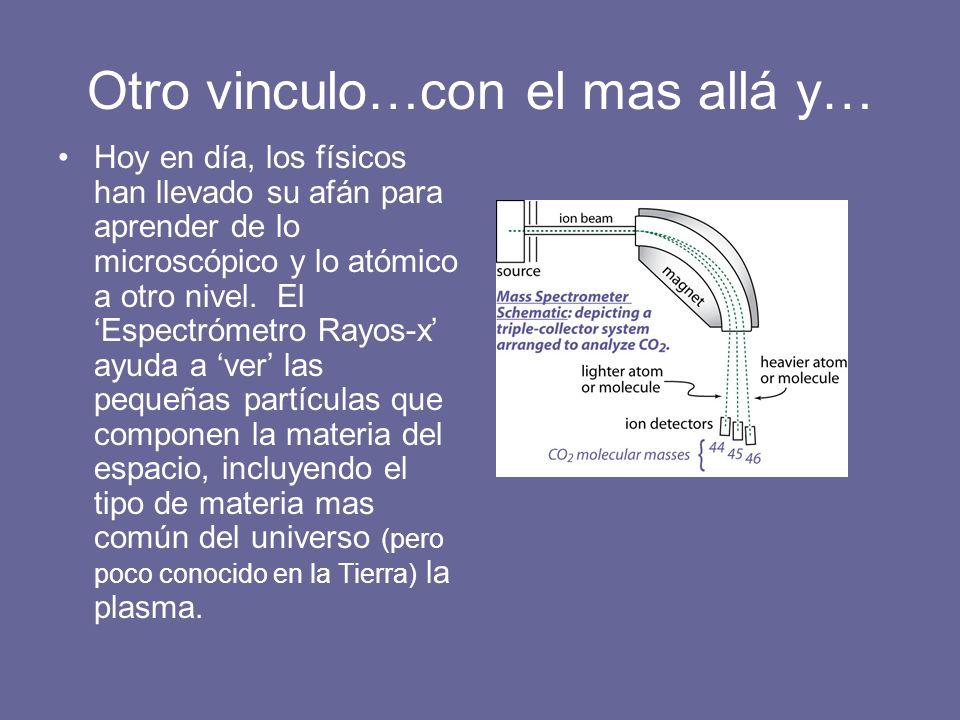Otro vinculo…con el mas allá y… Hoy en día, los físicos han llevado su afán para aprender de lo microscópico y lo atómico a otro nivel. El Espectrómet