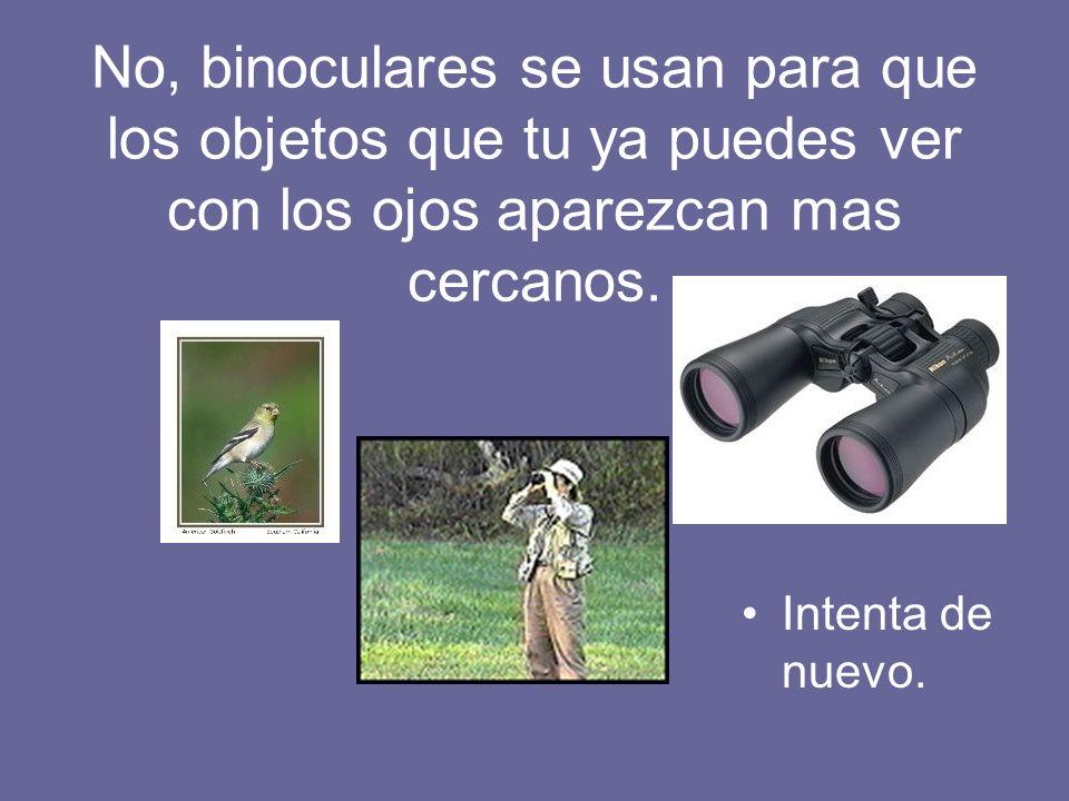 Intenta de nuevo. No, binoculares se usan para que los objetos que tu ya puedes ver con los ojos aparezcan mas cercanos.