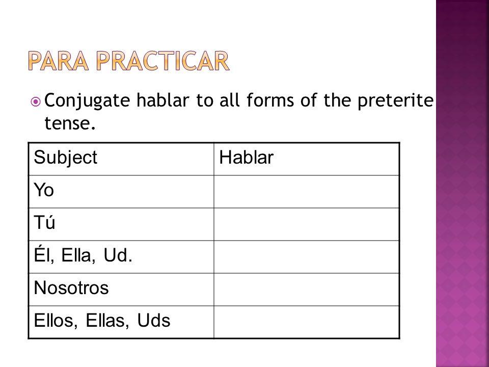 Conjugate hablar to all forms of the preterite tense.SubjectHablarYo TúTúTúTú Él, Ella, Ud. Nosotros Ellos, Ellas, Uds