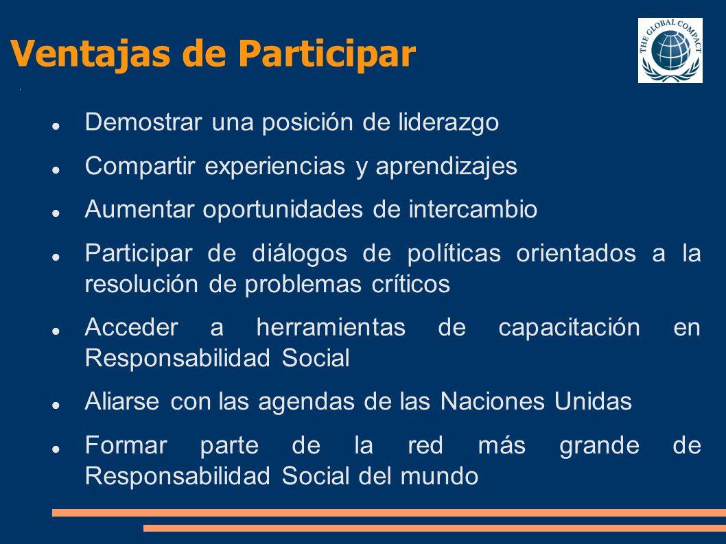 Demostrar una posición de liderazgo Compartir experiencias y aprendizajes Aumentar oportunidades de intercambio Participar de diálogos de políticas or