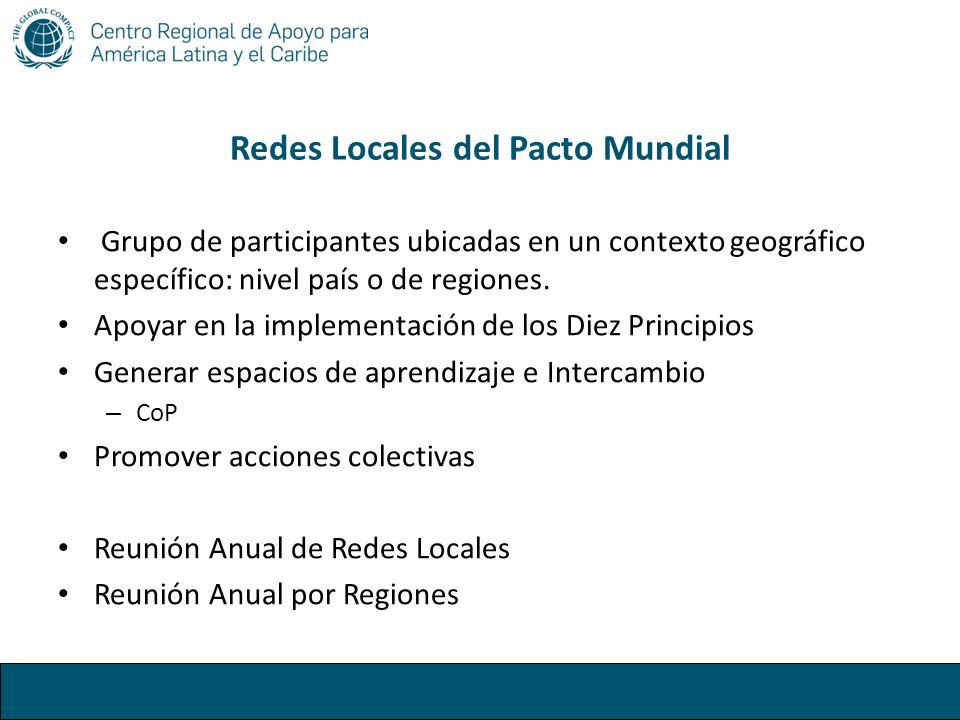 Redes Locales del Pacto Mundial Grupo de participantes ubicadas en un contexto geográfico específico: nivel país o de regiones. Apoyar en la implement