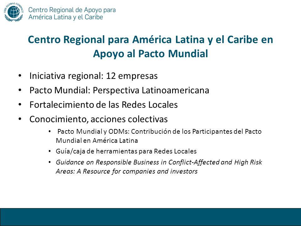 Centro Regional para América Latina y el Caribe en Apoyo al Pacto Mundial Iniciativa regional: 12 empresas Pacto Mundial: Perspectiva Latinoamericana