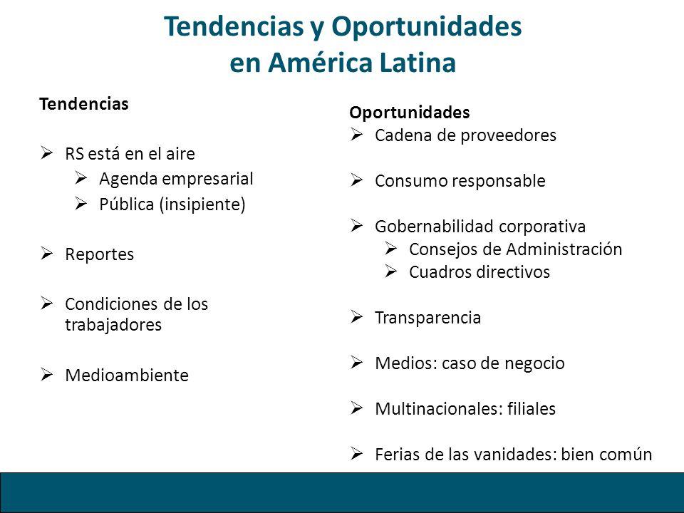 Tendencias y Oportunidades en América Latina Tendencias RS está en el aire Agenda empresarial Pública (insipiente) Reportes Condiciones de los trabaja