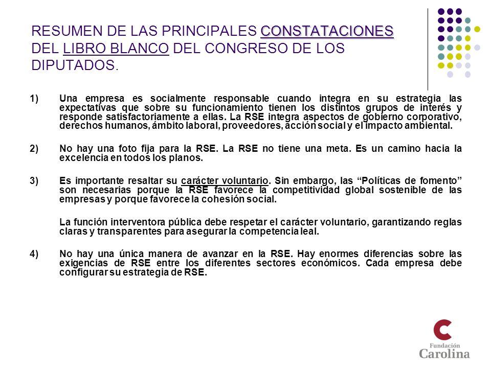 CONSTATACIONES RESUMEN DE LAS PRINCIPALES CONSTATACIONES DEL LIBRO BLANCO DEL CONGRESO DE LOS DIPUTADOS. 1)Una empresa es socialmente responsable cuan
