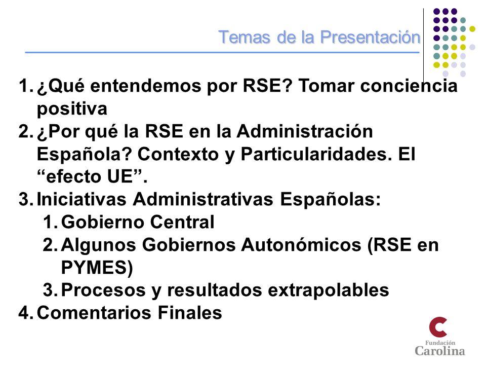 Temas de la Presentación 1.¿Qué entendemos por RSE? Tomar conciencia positiva 2.¿Por qué la RSE en la Administración Española? Contexto y Particularid