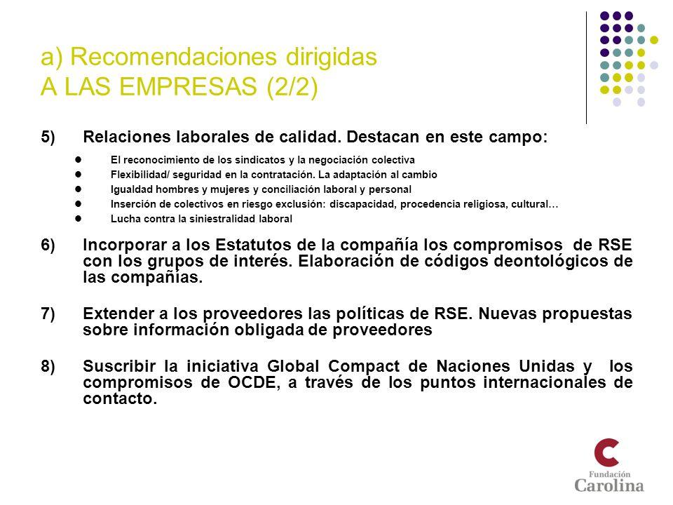 a) Recomendaciones dirigidas A LAS EMPRESAS (2/2) 5)Relaciones laborales de calidad. Destacan en este campo: El reconocimiento de los sindicatos y la