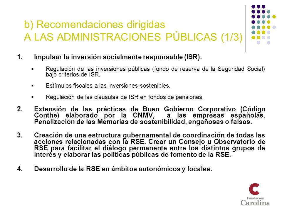 b) Recomendaciones dirigidas A LAS ADMINISTRACIONES PÚBLICAS (1/3) 1.Impulsar la inversión socialmente responsable (ISR). Regulación de las inversione