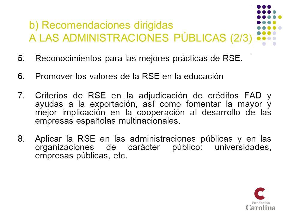 b) Recomendaciones dirigidas A LAS ADMINISTRACIONES PÚBLICAS (2/3) 5.Reconocimientos para las mejores prácticas de RSE. 6.Promover los valores de la R