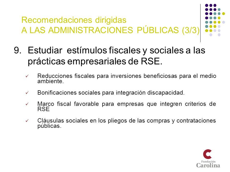 Recomendaciones dirigidas A LAS ADMINISTRACIONES PÚBLICAS (3/3) 9.Estudiar estímulos fiscales y sociales a las prácticas empresariales de RSE. Reducci