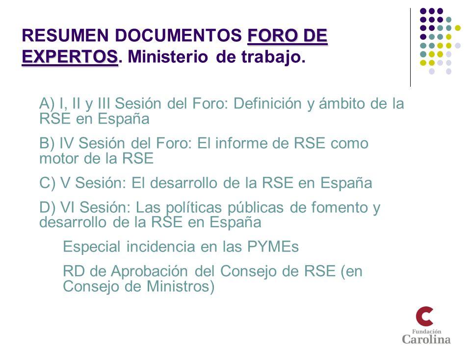 FORO DE EXPERTOS RESUMEN DOCUMENTOS FORO DE EXPERTOS. Ministerio de trabajo. A) I, II y III Sesión del Foro: Definición y ámbito de la RSE en España B