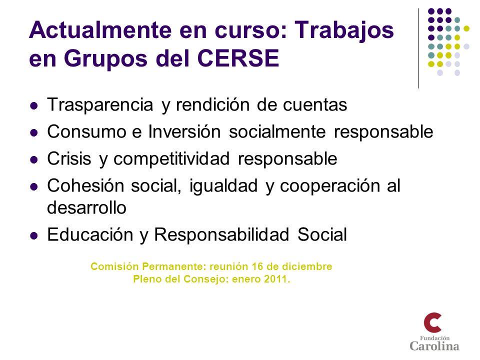 Actualmente en curso: Trabajos en Grupos del CERSE Trasparencia y rendición de cuentas Consumo e Inversión socialmente responsable Crisis y competitiv