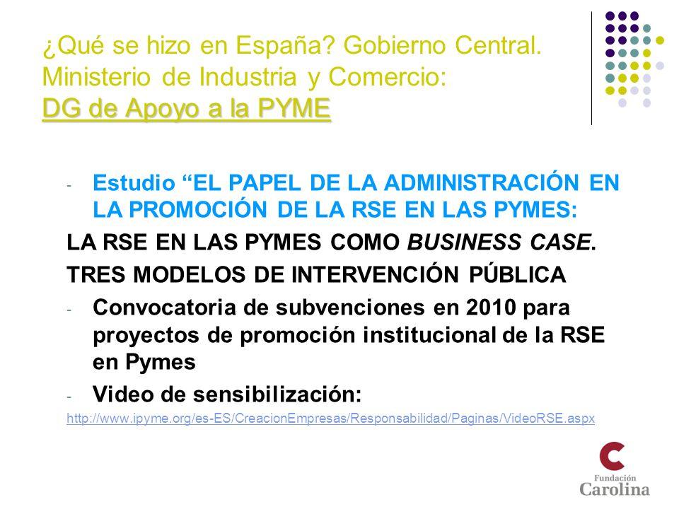 DG de Apoyo a la PYME ¿Qué se hizo en España? Gobierno Central. Ministerio de Industria y Comercio: DG de Apoyo a la PYME - Estudio EL PAPEL DE LA ADM