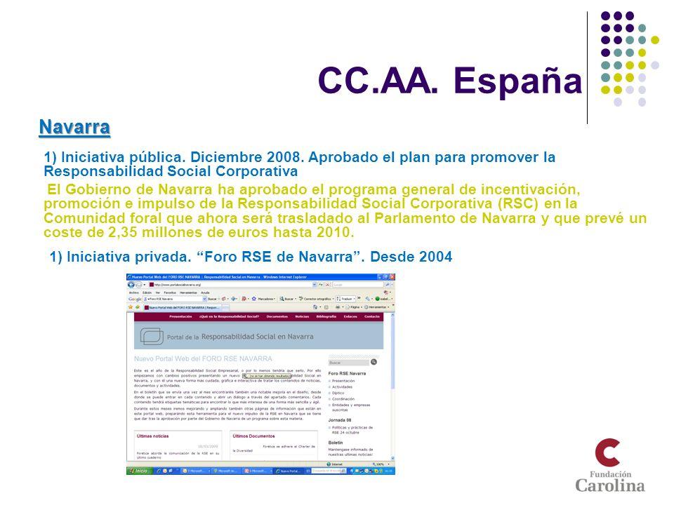 CC.AA. España Navarra 1) Iniciativa pública. Diciembre 2008. Aprobado el plan para promover la Responsabilidad Social Corporativa - El Gobierno de Nav