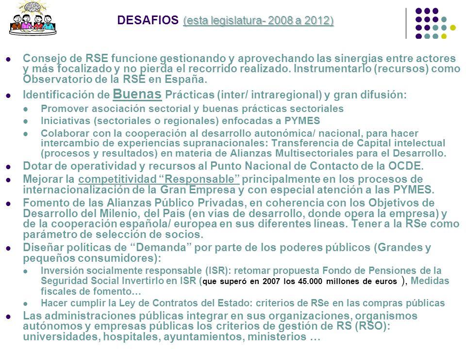 (esta legislatura- 2008 a 2012) DESAFIOS (esta legislatura- 2008 a 2012) Consejo de RSE funcione gestionando y aprovechando las sinergias entre actore
