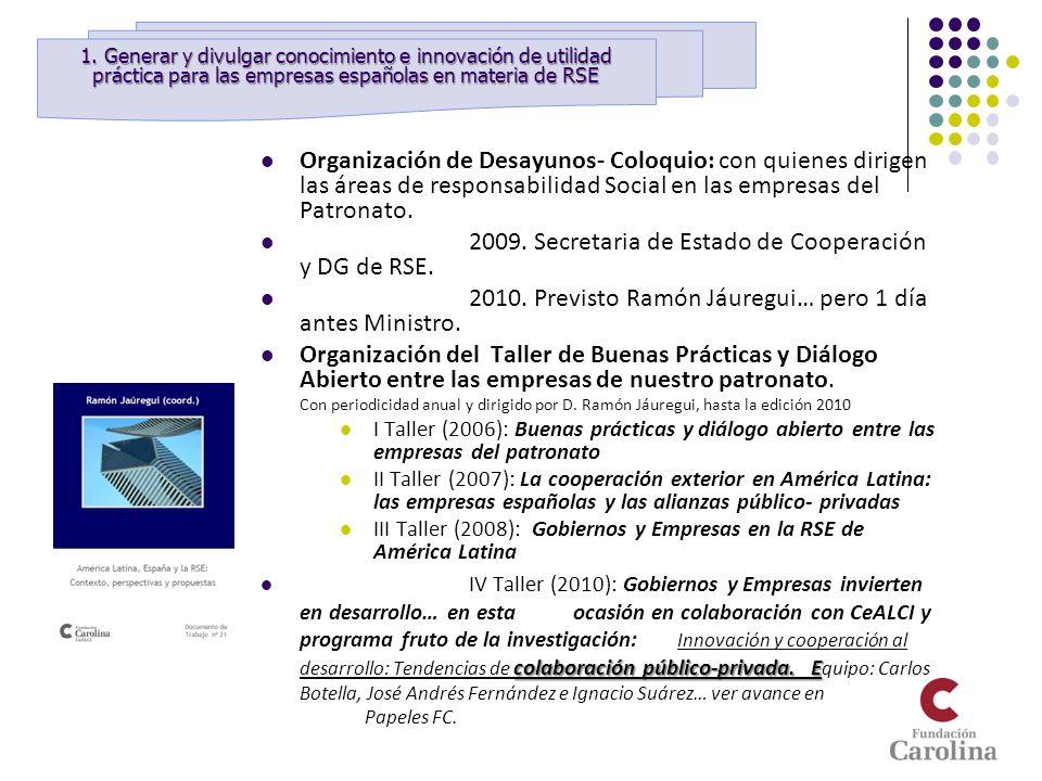 Organización de Desayunos- Coloquio: con quienes dirigen las áreas de responsabilidad Social en las empresas del Patronato. 2009. Secretaria de Estado