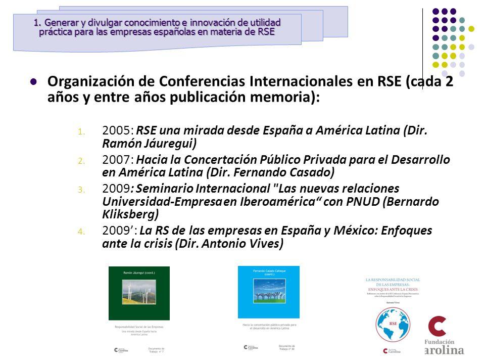 Organización de Conferencias Internacionales en RSE (cada 2 años y entre años publicación memoria): 1. 2005: RSE una mirada desde España a América Lat
