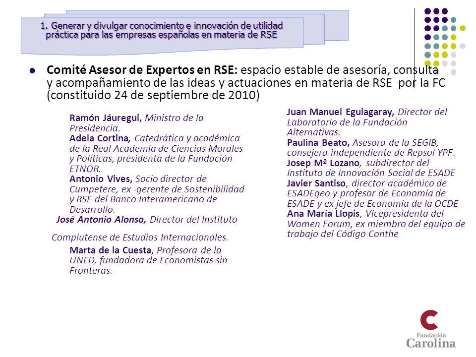 Comité Asesor de Expertos en RSE: espacio estable de asesoría, consulta y acompañamiento de las ideas y actuaciones en materia de RSE por la FC (const