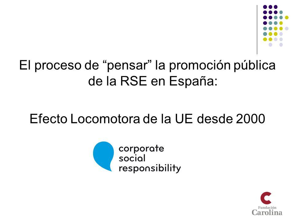 El proceso de pensar la promoción pública de la RSE en España: Efecto Locomotora de la UE desde 2000