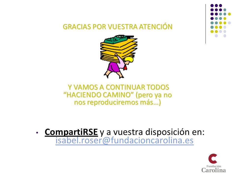 CompartiRSE y a vuestra disposición en: isabel.roser@fundacioncarolina.es isabel.roser@fundacioncarolina.es GRACIAS POR VUESTRA ATENCIÓN Y VAMOS A CON
