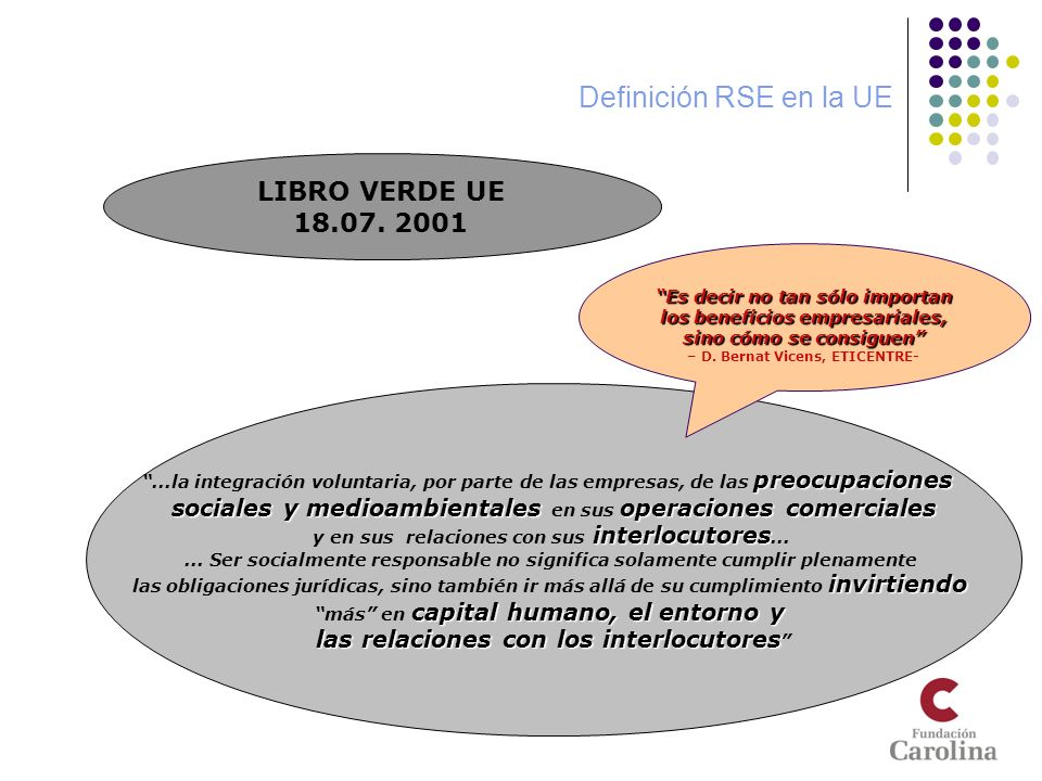 Ideas a retener (1) Que la RSE sea voluntaria, desde el punto de vista público, no se contradice con que los gobiernos aprueben normas (de efecto local y global): Para la conservación y mejora del medio ambiente, Para favorecer la cohesión y bienestar social Para fomentar la competitividad responsable Las actuaciones de promoción pública deben ser coherentes con los valores intrínsecos de la RSE (voluntariedad, minimización de impactos negativos sociales y medioambientales y procesos participativos multiparte) Es importante la identificación y coordinación de espacios de cada una de las instituciones (públicas y en la medida de lo posible, privadas) de promoción de la RSE.