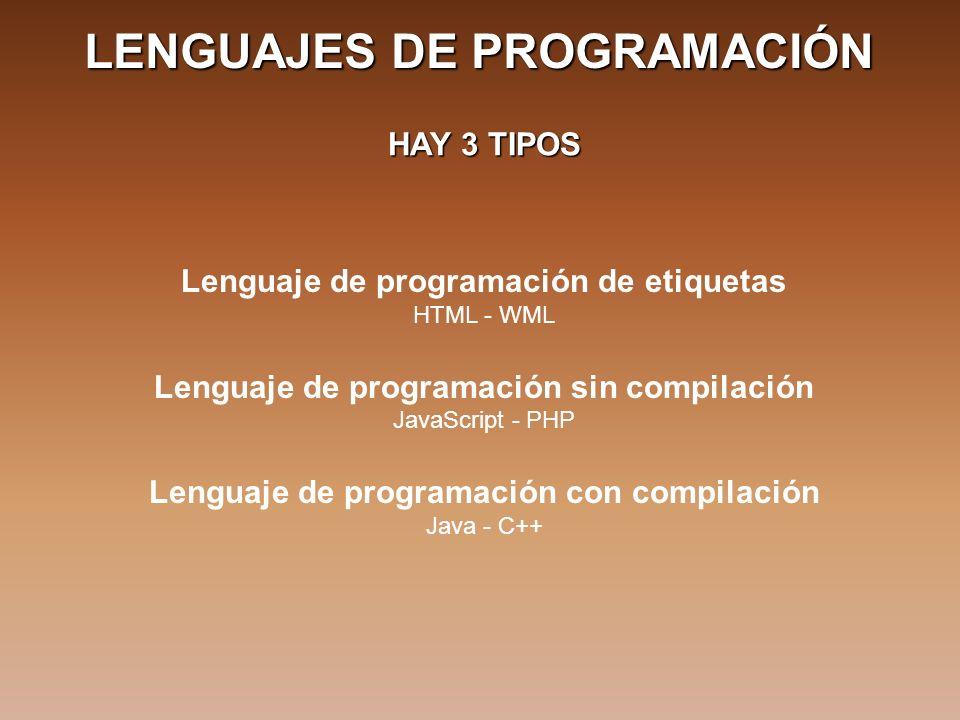 LENGUAJES DE PROGRAMACIÓN HAY 3 TIPOS Lenguaje de programación de etiquetas HTML - WML Lenguaje de programación sin compilación JavaScript - PHP Lenguaje de programación con compilación Java - C++