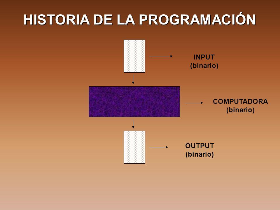 HISTORIA DE LA PROGRAMACIÓN INPUT (binario) COMPUTADORA (binario) OUTPUT (binario)