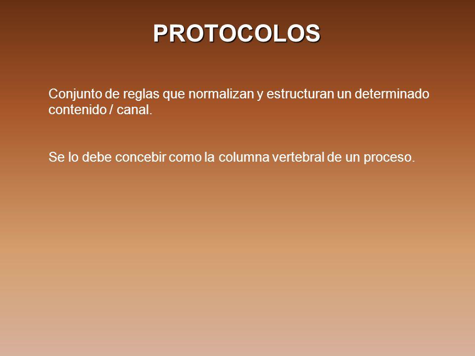 PROTOCOLOS Conjunto de reglas que normalizan y estructuran un determinado contenido / canal. Se lo debe concebir como la columna vertebral de un proce