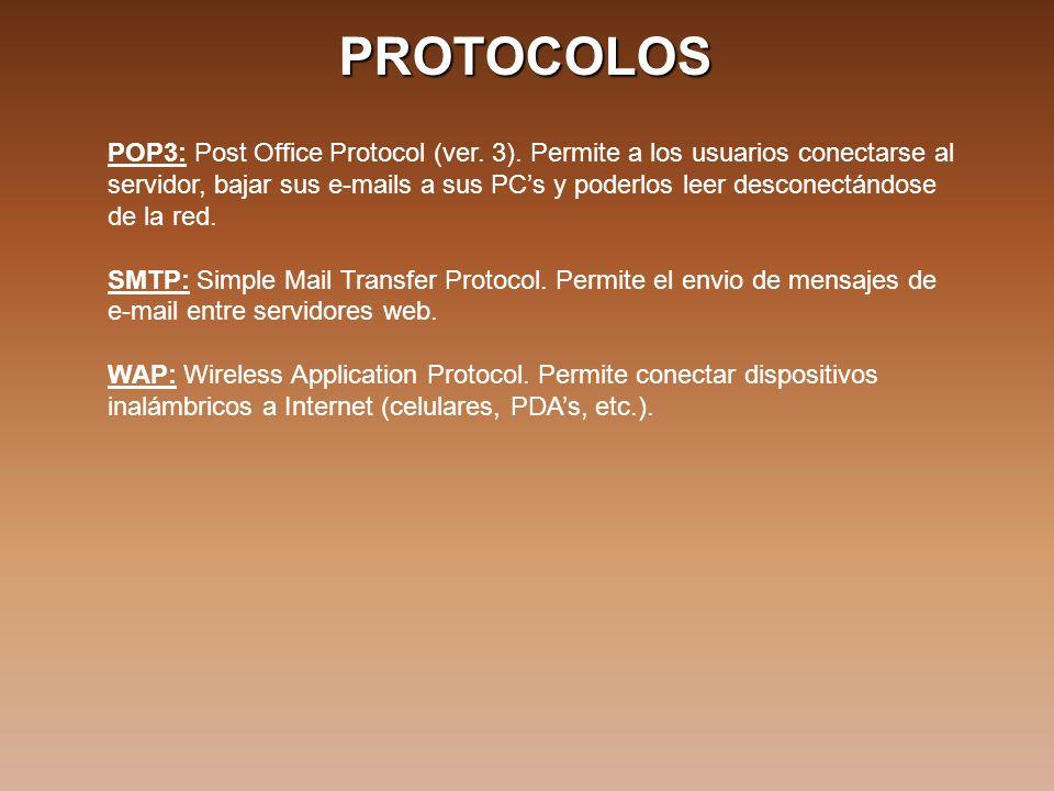 PROTOCOLOS POP3: Post Office Protocol (ver. 3).