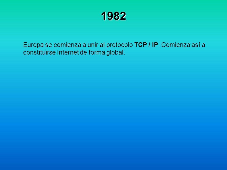 1982 Europa se comienza a unir al protocolo TCP / IP. Comienza así a constituirse Internet de forma global.