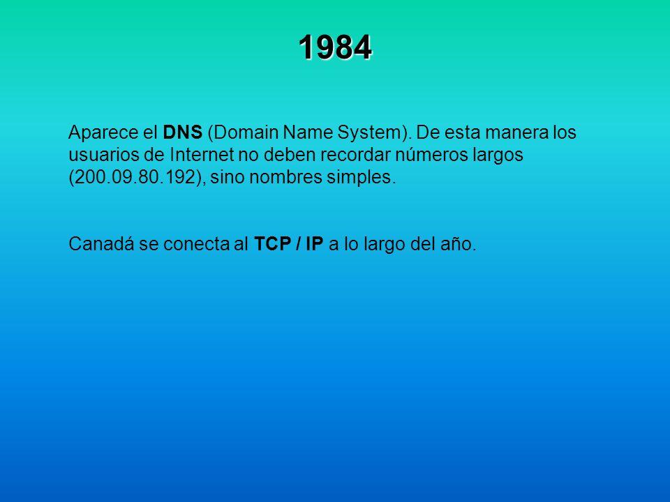 1984 Aparece el DNS (Domain Name System). De esta manera los usuarios de Internet no deben recordar números largos (200.09.80.192), sino nombres simpl