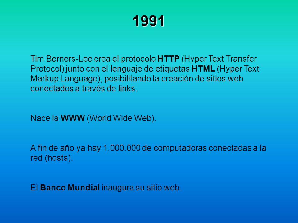 1991 Tim Berners-Lee crea el protocolo HTTP (Hyper Text Transfer Protocol) junto con el lenguaje de etiquetas HTML (Hyper Text Markup Language), posib
