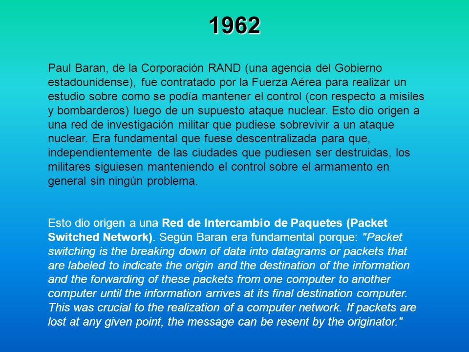1962 Paul Baran, de la Corporación RAND (una agencia del Gobierno estadounidense), fue contratado por la Fuerza Aérea para realizar un estudio sobre c