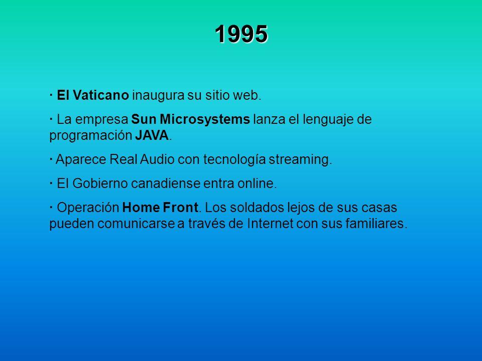 1995 · El Vaticano inaugura su sitio web. · La empresa Sun Microsystems lanza el lenguaje de programación JAVA. · Aparece Real Audio con tecnología st
