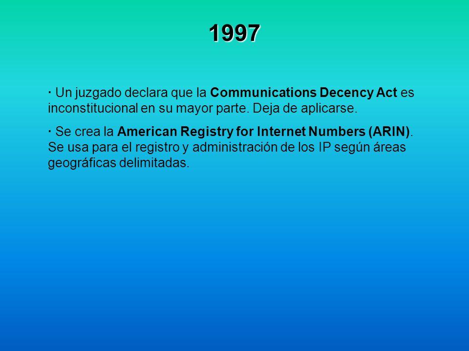 1997 · Un juzgado declara que la Communications Decency Act es inconstitucional en su mayor parte. Deja de aplicarse. · Se crea la American Registry f