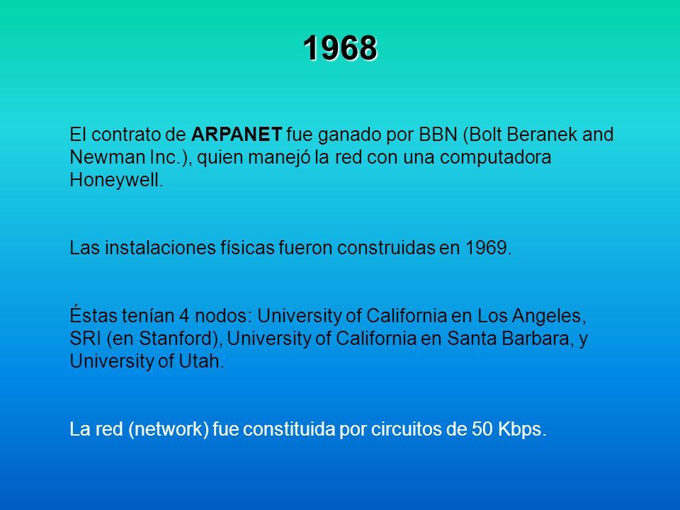 1968 El contrato de ARPANET fue ganado por BBN (Bolt Beranek and Newman Inc.), quien manejó la red con una computadora Honeywell. Las instalaciones fí