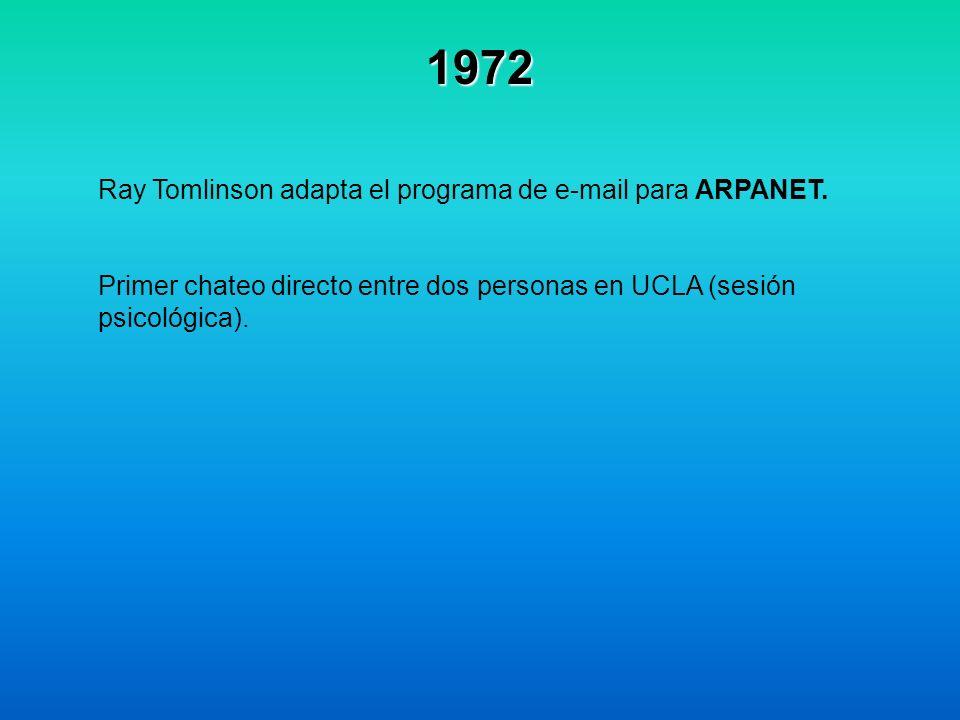 1972 Ray Tomlinson adapta el programa de e-mail para ARPANET. Primer chateo directo entre dos personas en UCLA (sesión psicológica).