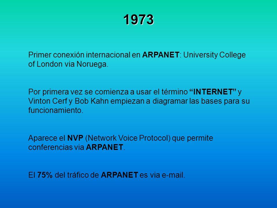 1973 Primer conexión internacional en ARPANET: University College of London via Noruega. Por primera vez se comienza a usar el término INTERNET y Vint