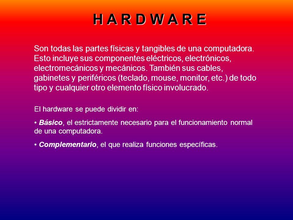 H A R D W A R E Son todas las partes físicas y tangibles de una computadora. Esto incluye sus componentes eléctricos, electrónicos, electromecánicos y