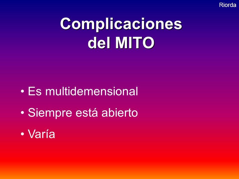 RiordaComplicaciones del MITO Es multidemensional Siempre está abierto Varía