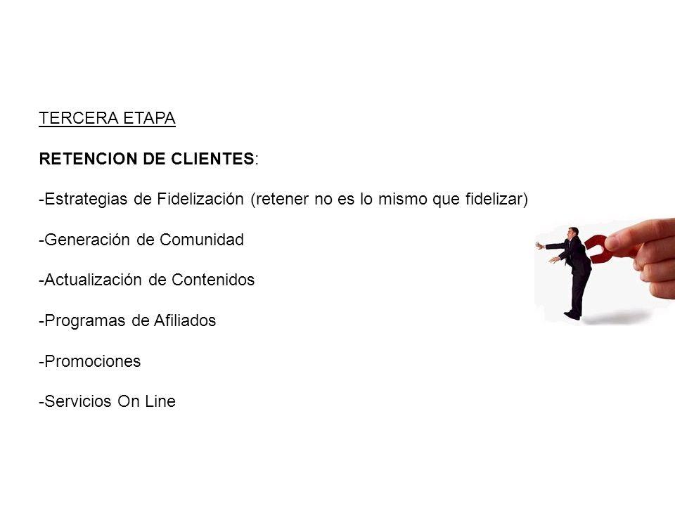 TERCERA ETAPA RETENCION DE CLIENTES: -Estrategias de Fidelización (retener no es lo mismo que fidelizar) -Generación de Comunidad -Actualización de Contenidos -Programas de Afiliados -Promociones -Servicios On Line
