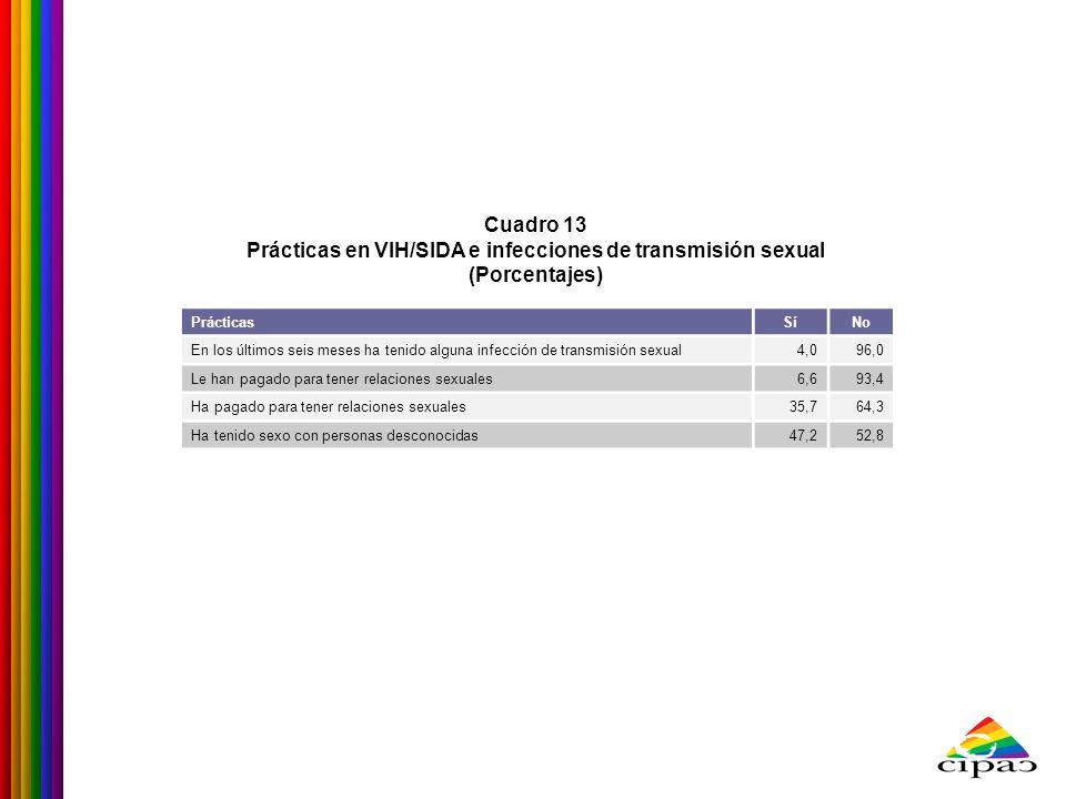 Cuadro 13 Prácticas en VIH/SIDA e infecciones de transmisión sexual (Porcentajes) PrácticasSíNo En los últimos seis meses ha tenido alguna infección d