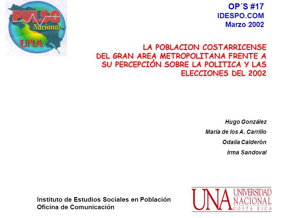 1 LA POBLACION COSTARRICENSE LA POBLACION COSTARRICENSE DEL GRAN AREA METROPOLITANA FRENTE A DEL GRAN AREA METROPOLITANA FRENTE A SU PERCEPCIÓN SOBRE LA POLITICA Y LAS ELECCIONES DEL 2002 Hugo González María de los A.