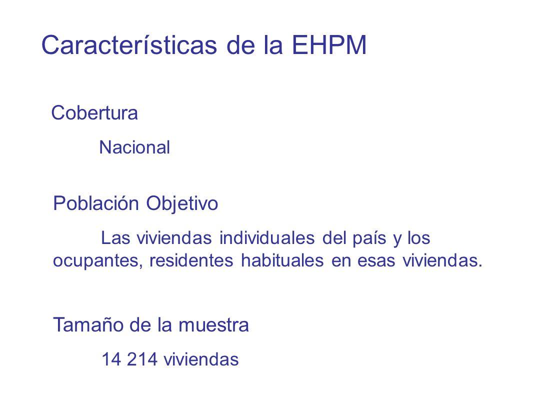 Características de la EHPM Población Objetivo Las viviendas individuales del país y los ocupantes, residentes habituales en esas viviendas.