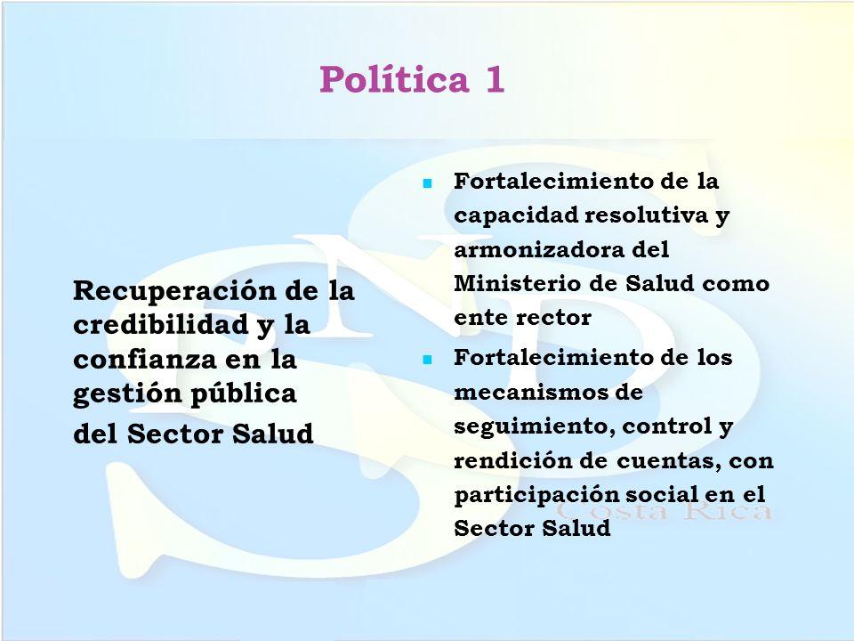Política 1 Recuperación de la credibilidad y la confianza en la gestión pública del Sector Salud Fortalecimiento de la capacidad resolutiva y armoniza