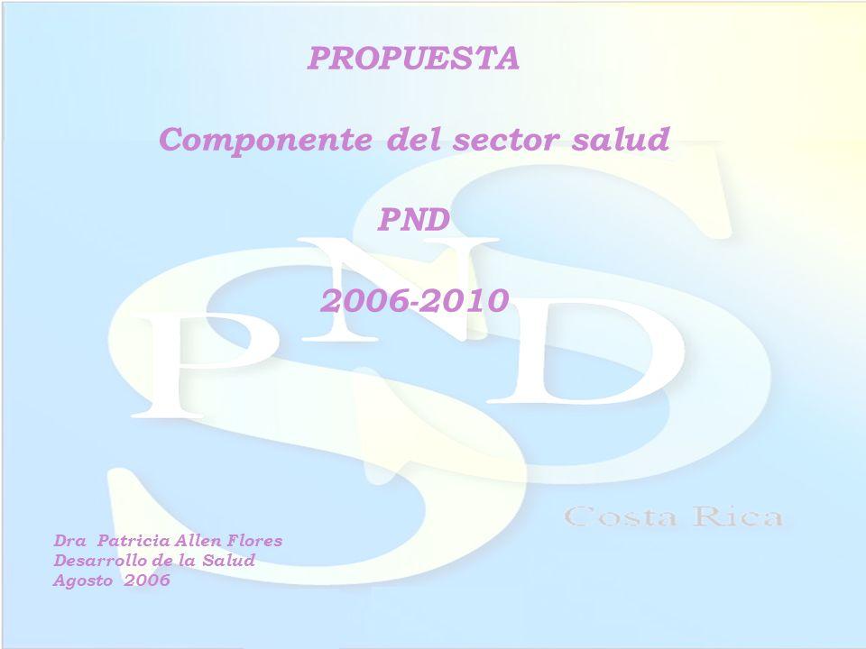 PROPUESTA Componente del sector salud PND 2006-2010 Dra Patricia Allen Flores Desarrollo de la Salud Agosto 2006
